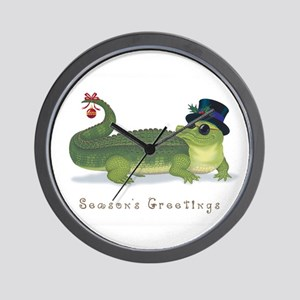 Christmas Alligator Wall Clock